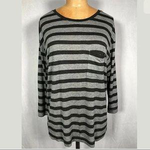 Vince 3/4 Sleeve Viscose Top Shirt Gray Stripes